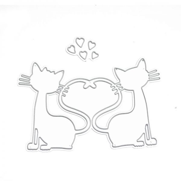 Cute double cat shape cutting dies for scrapbooking