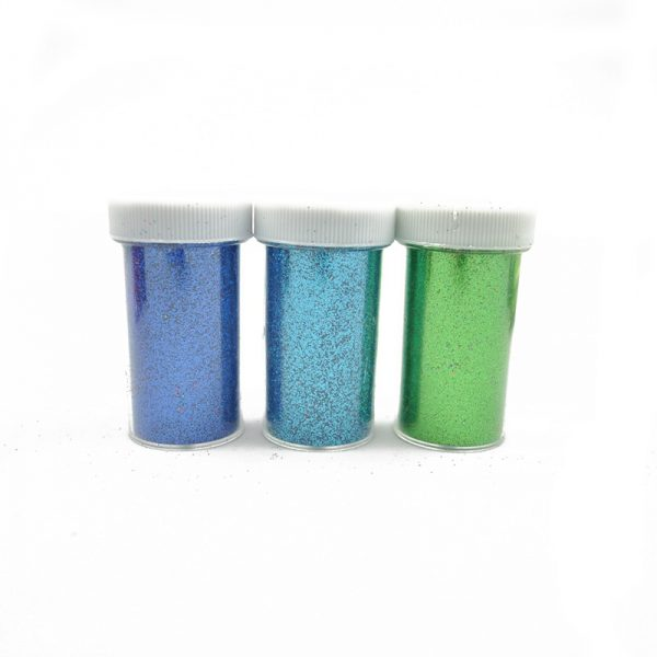Blue cyan and green color glitter powder for scrapbooking