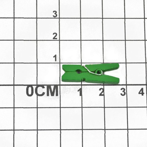 Wholesale green color mini size wood clip