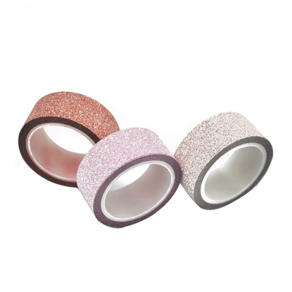 Red rose and pink color glitter washi tape