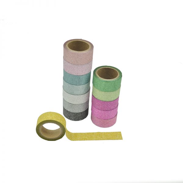 Wholesale pastel color glitter washi tape for scrapbooking