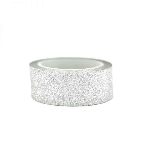 Gold silver and white color glitter washi tape for scrapbooking