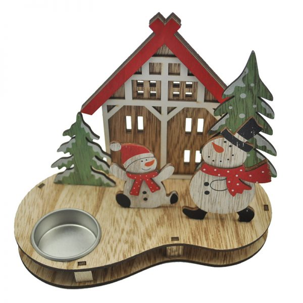 MDF teelight holder with snowman for home decoration