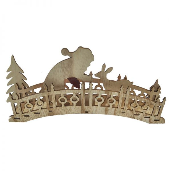 Wood bridge with santa for home decoration