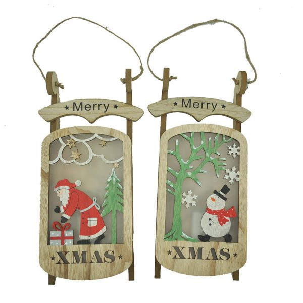 LED wood sleigh wall hanger with XMAS design for home decoration