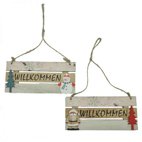 Wood door hanger with German words for christmas decoration