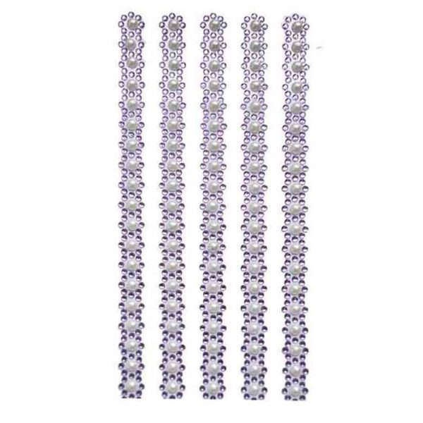 3mm lila gem sticker with 6mm white pearl sticker mixed