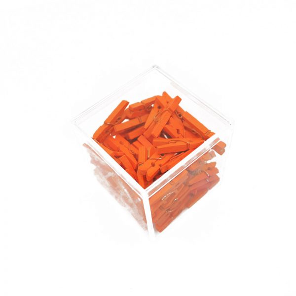 Orange mini natural wooden clothespin craft clips