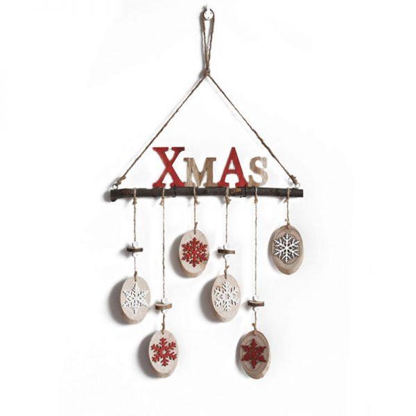 wood craft hanger with christmas ornament
