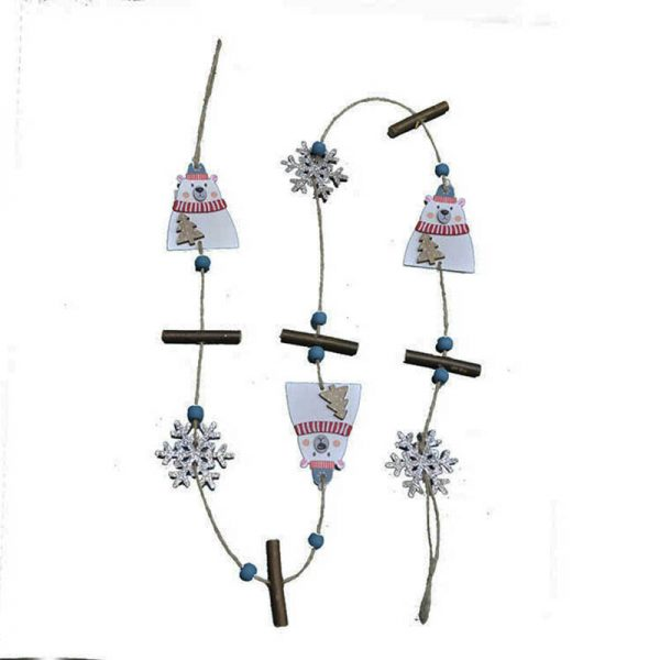 wood garland with christmas ornament for home decoration
