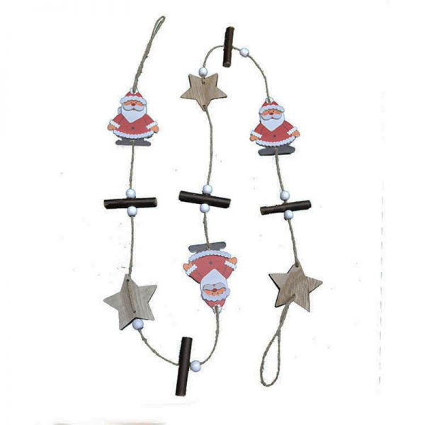 120cm wood garland with christmas design for home decoration