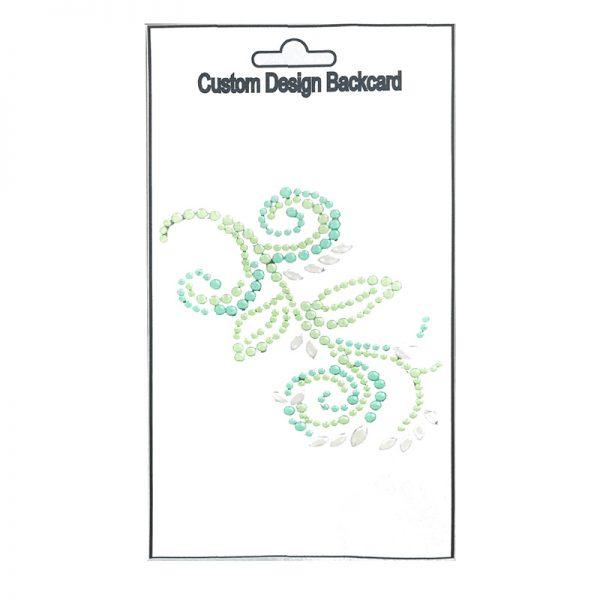 Wholesale green color leaf shape gem sticker