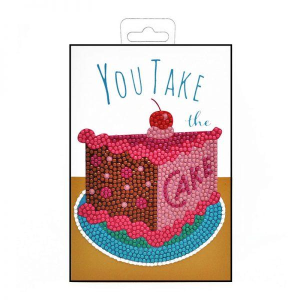Cake diamond painting greeting card folded