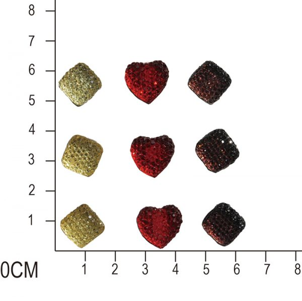 12mm square gem sticker and 14mm heart sticker for wholesales