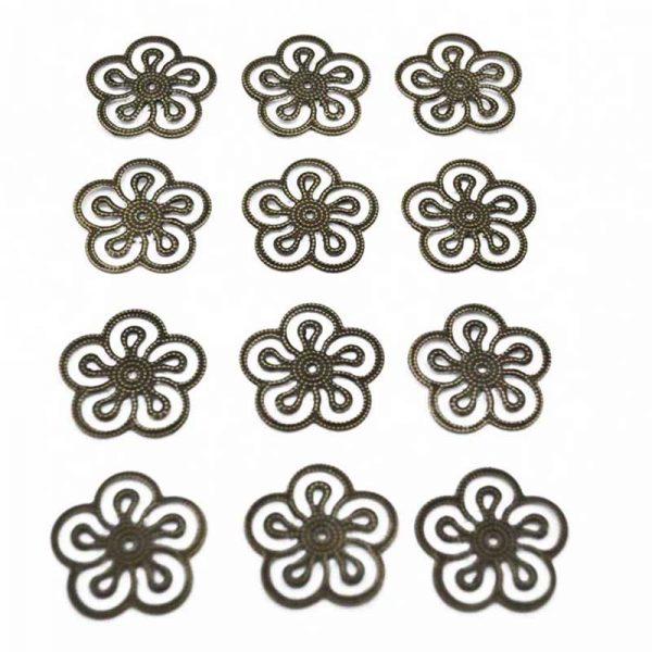 12pcs flower copper color trinket for scrapbooking