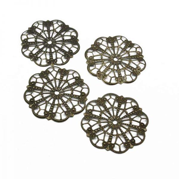 4pcs copper color flower metal trinket for DIY hobby