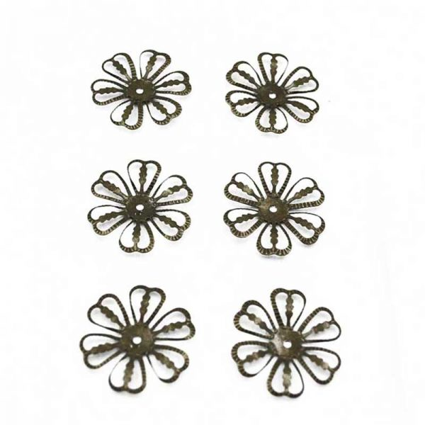 6pcs copper color flowers shape trinket for DIY accessory
