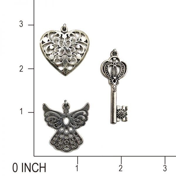 Angel heart and key shapevintage finish lucky charm