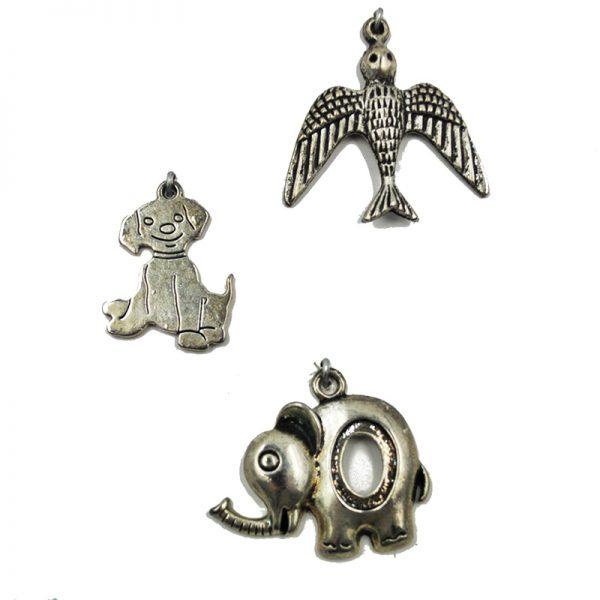 Bird dog and Elephant shape charm for DIY hobby