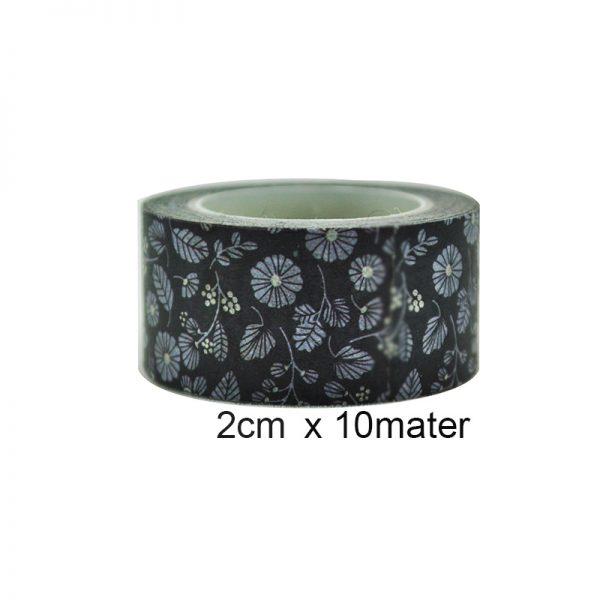 Black color flowers crafts washi tape