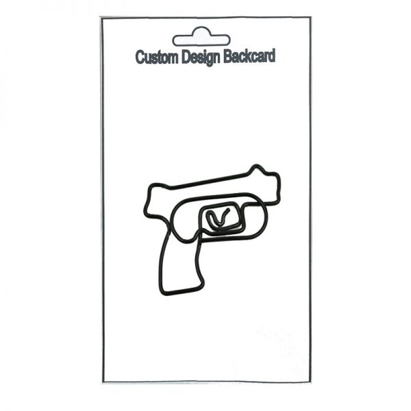 Black gun shape design metal paperclip