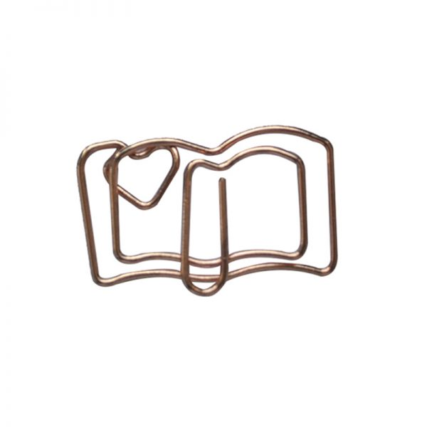 Champagne book and heart design paperclip supplies