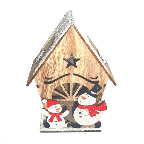 Christmas decoration wood craft house with santa