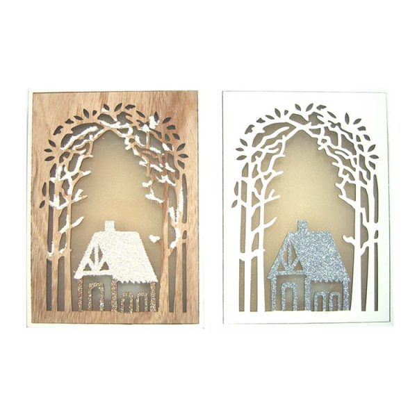 landscape design wood decor hanger with LED lights