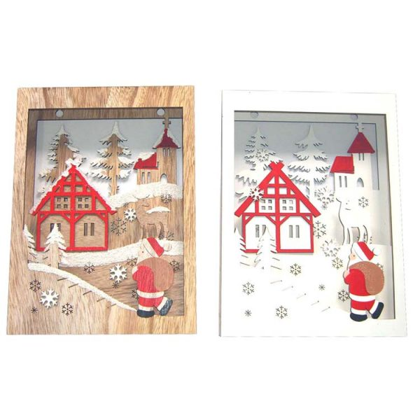 Christmas items wood craft wall hanger with LED lights