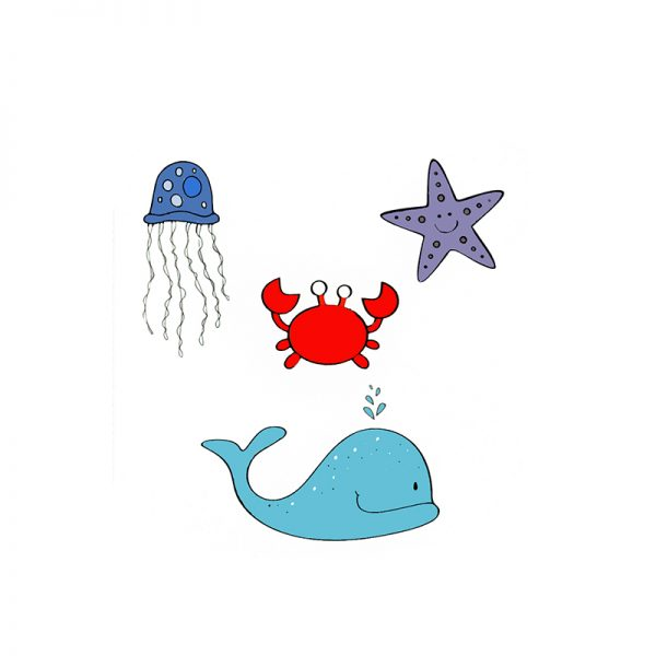 Dolphins and crab sea animal world theme cutting dies