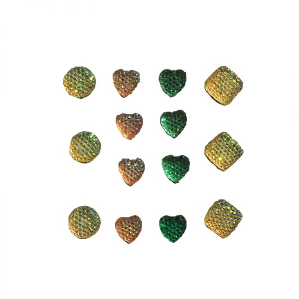 12mm circle and square gem sticker and 10mm heart sticker