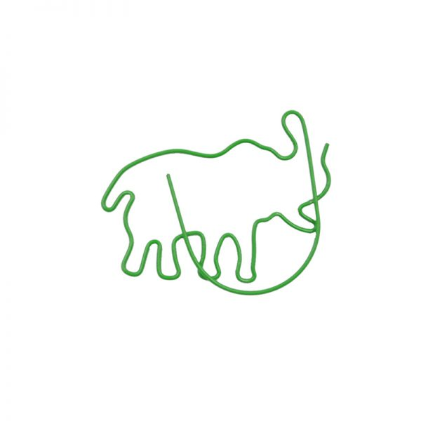 Green elephant design electroplate paperclips