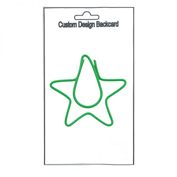 Green star design paperclips for decoration