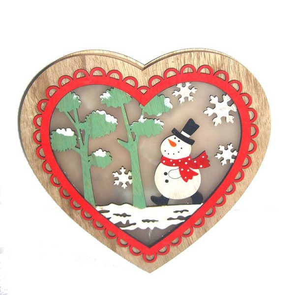 LED decoration heart shape wood craft wall hanger with christmas design