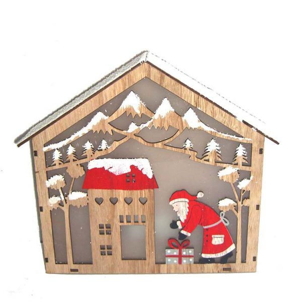MDF wood decorative house with christmas decoration