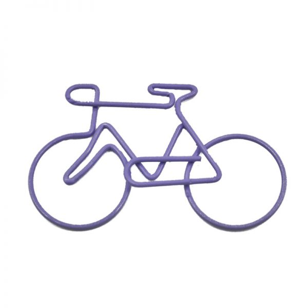 Purple bicycle design crafts clips and metal paperclip