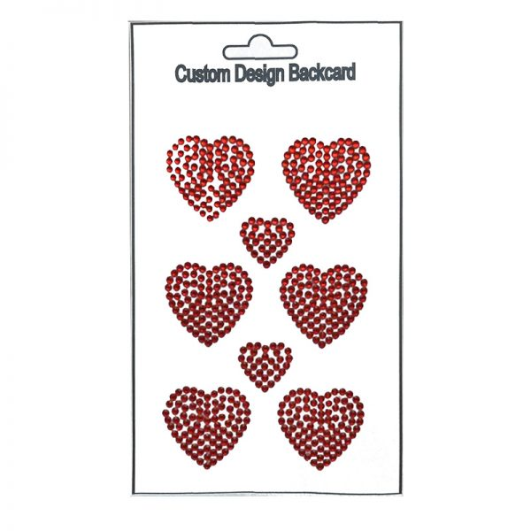 3mm gemstone red heart shape sticker for scrapbooking