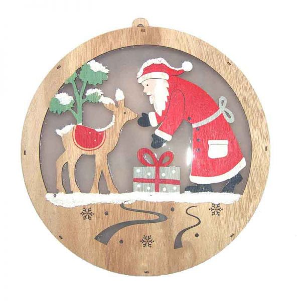 Round LED wall hanger with santa for home decoration