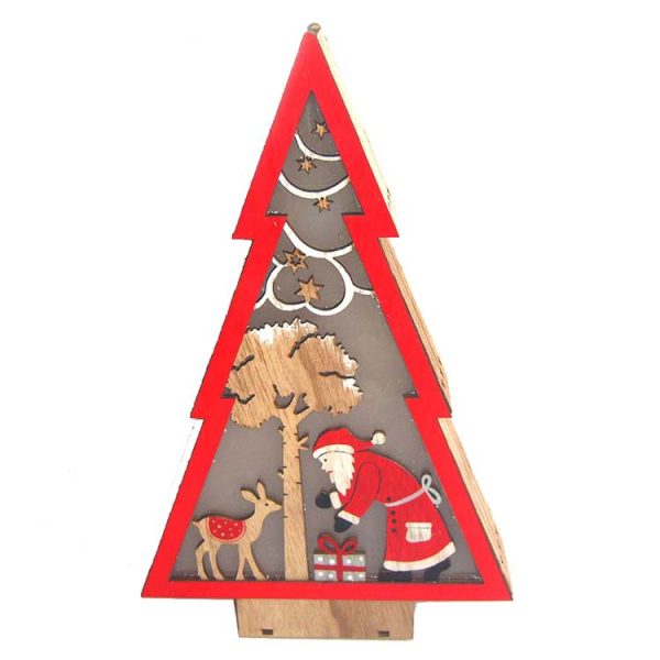 Tannenbaum shape LED wood craft stander with snowman for christmas decoration