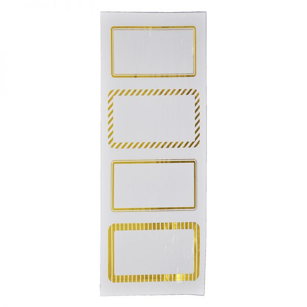White background with gold frame paper sticker for remark