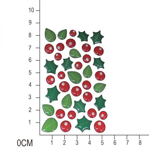 Winter berry with leaf shape enamel sticker