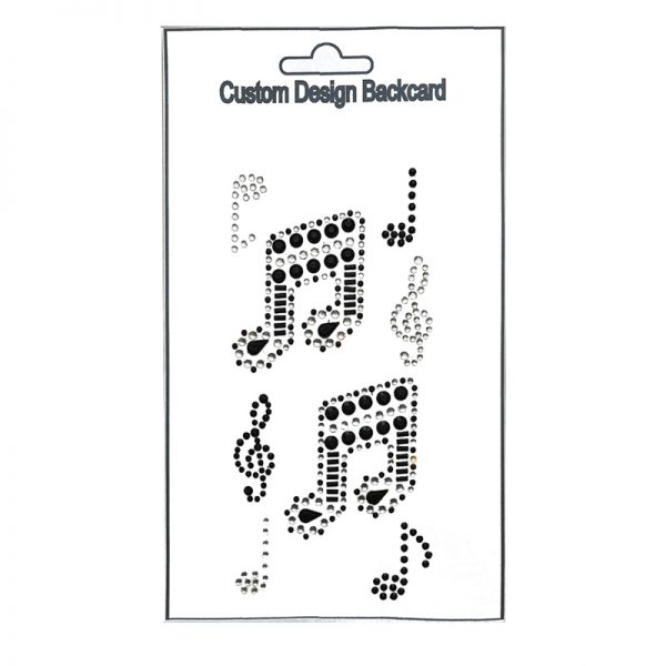 white and silver color music note shape gemstone sticker