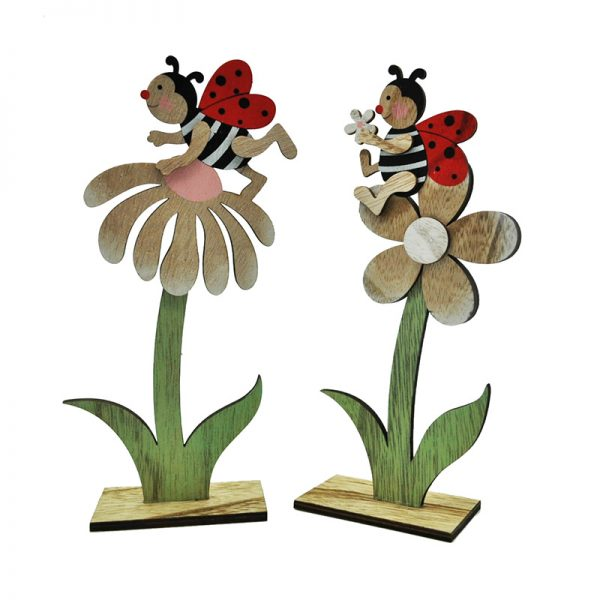 2assorted decorative wood craft flower stander with bee for home decoration