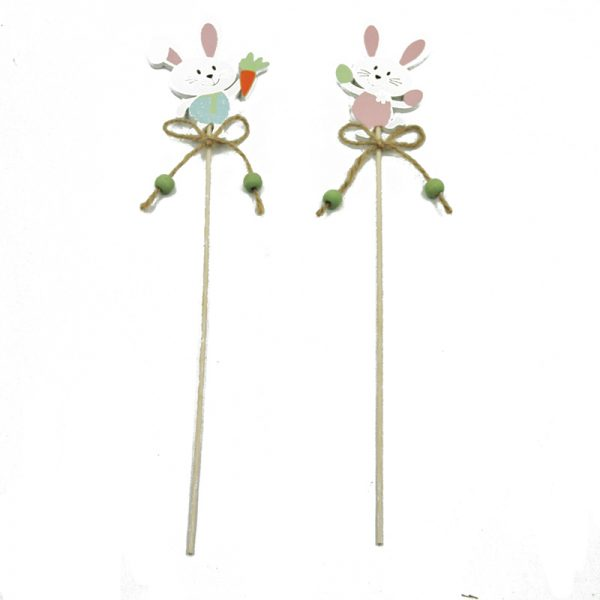 2assorted rabbit with easter egg shape wood craft sticks for home decor