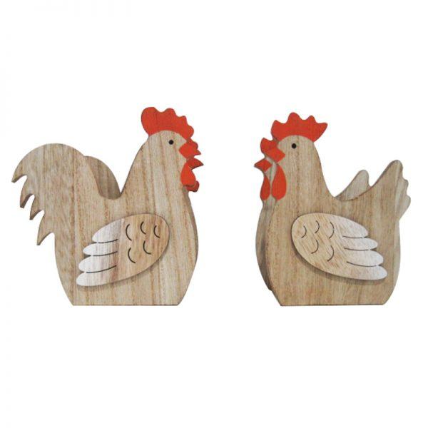 2pcs chicken shape home decoration wooden crafts