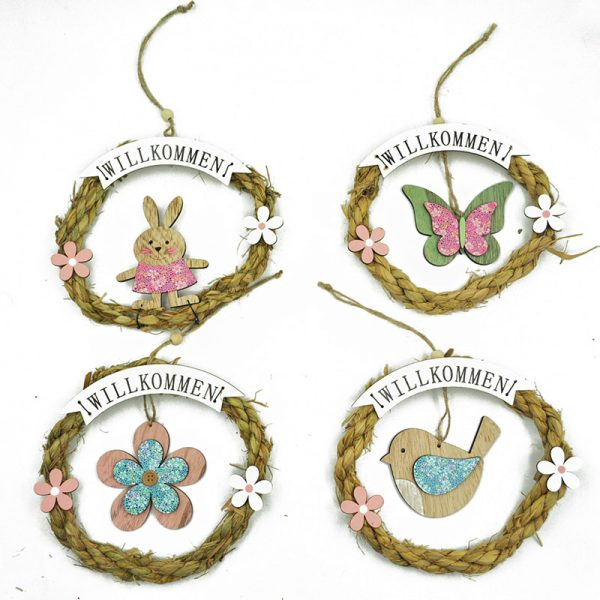 4 Assorted straw garland with easter decoration shapes for home decoration