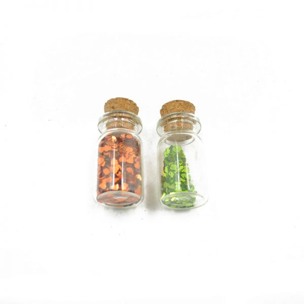 Big size orange and green color heart shape glitter for wholesale