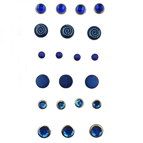 Blue color mixed type and sizes craft acessory brads