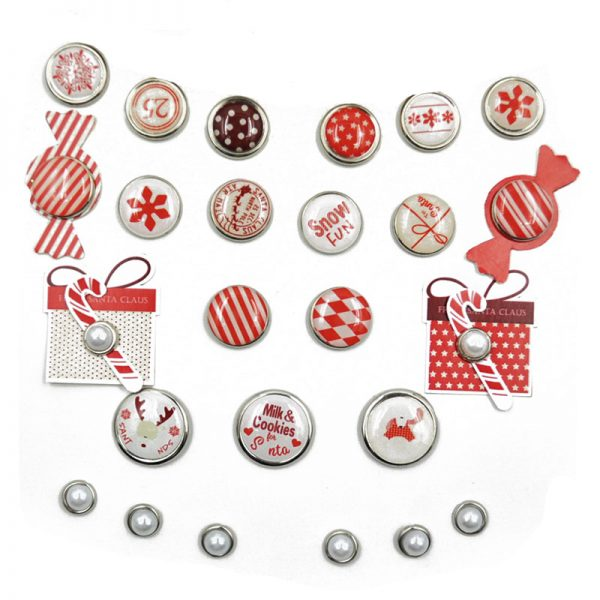 Christmas theme epoxy and paerl brads