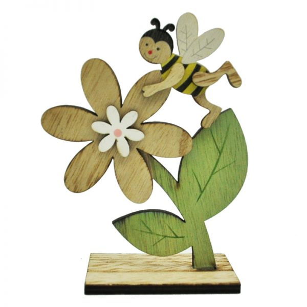 Wooden home decoration bee and flower shape crafts